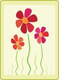 Disegno della cartolina d'auguri con i fiori Fotografie Stock