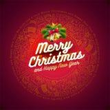 Disegno della cartolina di Natale Immagini Stock Libere da Diritti