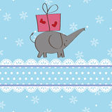 Disegno della cartolina di Natale del regalo e dell'elefante Fotografie Stock Libere da Diritti