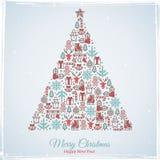 Disegno della cartolina di Natale Illustrazione di vettore Fotografia Stock Libera da Diritti