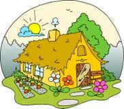 Disegno della casa del cottage - colorato Fotografia Stock