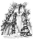 Disegno della cascata illustrazione di stock