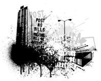 Disegno della città di Grunge illustrazione di stock