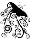 Disegno della farfalla in siluetta con le spirali Immagini Stock Libere da Diritti