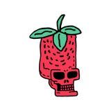 Disegno della fragola del cranio Testa del fumetto rosso di scheletro della bacca Fotografia Stock Libera da Diritti