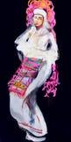 Disegno della giovane donna in vestiti tradizionali del Balcani Fotografia Stock Libera da Diritti