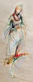 Disegno della giovane signora scalza di folclore del Balcani Fotografia Stock Libera da Diritti