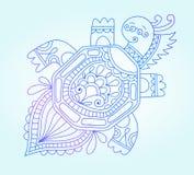 Disegno della linea blu del mostro marino, subacqueo Fotografia Stock