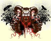 Disegno della maglietta con la testa del mostro Immagini Stock Libere da Diritti