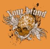Disegno della maglietta del cranio Immagini Stock Libere da Diritti