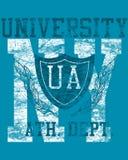 Disegno della maglietta dell'università Immagini Stock