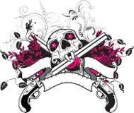 Disegno della maglietta delle rose delle pistole del cranio Fotografia Stock