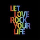Disegno della maglietta | Lasci la roccia di amore la vostra vita Immagini Stock