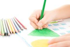 Disegno della mano del bambino Fotografia Stock