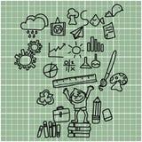 Disegno della mano del fumetto di nuovo alla scuola Immagini Stock Libere da Diritti