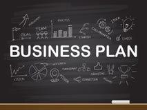 Disegno della mano del gesso con la parola del business plan Illustrazione di vettore royalty illustrazione gratis