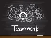 Disegno della mano del gesso con la parola di lavoro di squadra e dell'ingranaggio Illustrazione di vettore illustrazione di stock