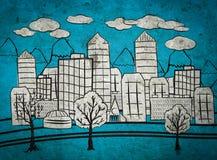 Disegno della mano della città Fotografia Stock Libera da Diritti