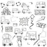 Disegno della mano di affari, illustrazioni di vettore Fotografie Stock Libere da Diritti