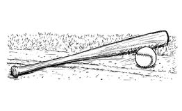 Disegno della mano di vettore della palla e della mazza da baseball Fotografia Stock