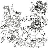 Disegno della penna a sfera con la pistola ed il pesce Immagini Stock