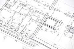 Disegno della pianta della costruzione Fotografia Stock Libera da Diritti