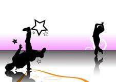Disegno della priorità bassa dei due danzatori Fotografie Stock