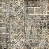 Disegno della priorità bassa del collage timbrato mano del batik fotografia stock