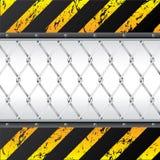 Disegno della priorità bassa della costruzione con il recinto di filo metallico illustrazione di stock