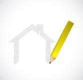 Disegno della progettazione dell'illustrazione della casa Fotografie Stock