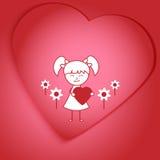 Disegno della ragazza che tiene un cuore immagine stock