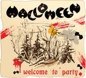Disegno della scheda dell'invito al partito di Halloween Fotografia Stock Libera da Diritti