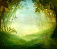 Disegno della sorgente - prato della foresta Fotografia Stock