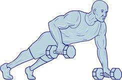 Disegno della testa di legno della mano di Push Up One dell'atleta di forma fisica Immagini Stock