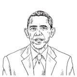 Disegno di Barack Obama Disegno dell'illustrazione di caricatura di vettore 15 settembre 2018 illustrazione di stock