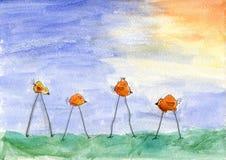Disegno di bords dell'acquerello del bambino Fotografia Stock