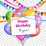Disegno di buon compleanno L'elio variopinto realistico balloons il mucchio Fotografie Stock