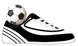Disegno di calcio con la sfera ed il pattino Fotografie Stock