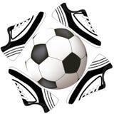 Disegno di calcio con la sfera ed il pattino Fotografia Stock Libera da Diritti