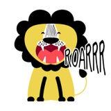 Disegno di carattere divertente di vettore del ` del leone di Roarrr illustrazione vettoriale