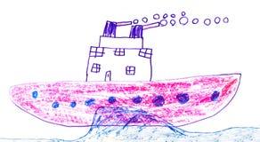Disegno di Childs della nave da guerra Immagine Stock