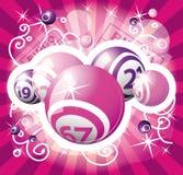Disegno di colore rosa di lotteria o di Bingo Fotografia Stock