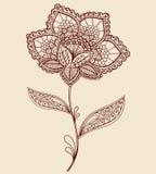 Disegno di Doodle del fiore di Paisley del Doily del merletto del hennè Immagini Stock Libere da Diritti