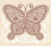 Disegno di Doodle della farfalla di Mehndi Paisley del hennè Immagini Stock Libere da Diritti