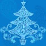 Disegno di Doodle di Paisley del hennè dell'albero di Natale Fotografia Stock Libera da Diritti