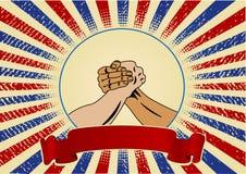 Disegno di Festa del Lavoro con le mani degli operai Immagini Stock Libere da Diritti