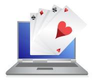Disegno di gioco in linea dell'illustrazione del gioco di schede sopra Immagine Stock