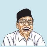 Disegno di Gus Dur Abdurrahman Wahid Vector 13 novembre 2017 Immagini Stock Libere da Diritti