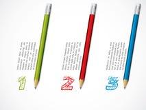 Disegno di Infographic con le matite Fotografie Stock Libere da Diritti