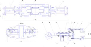 Disegno di ingegneria dell'attrezzatura industriale Fotografia Stock Libera da Diritti